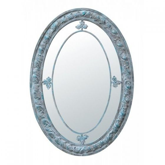 Oval Margin Blue Shabby Mirror