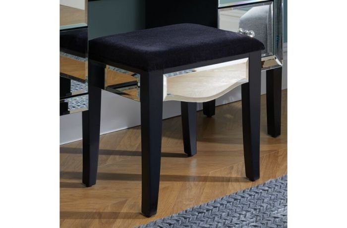 Palma Mirrored and Black Stool
