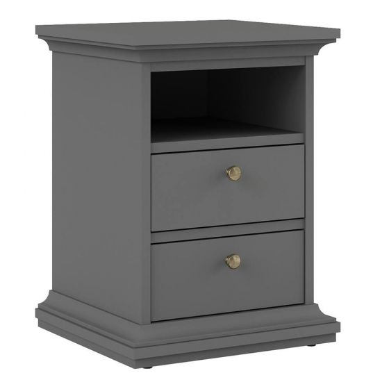 Paris 2 Drawer Bedside in White, Grey or Walnut