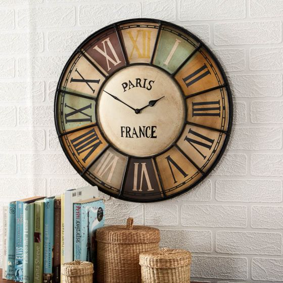 Paris Industrial Multi Colour Wall Clock