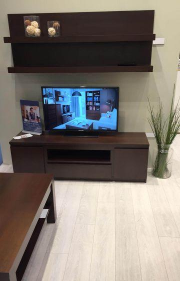 Pello 2 Door 1 Drawer Wide Tv Cabinet In Dark Mahogany