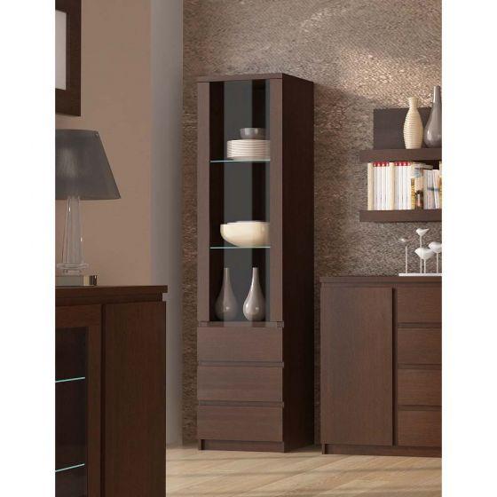 Pello Tall Narrow 1 Door 3 Drawer Glazed Display Cabinet In Dark Mahogany