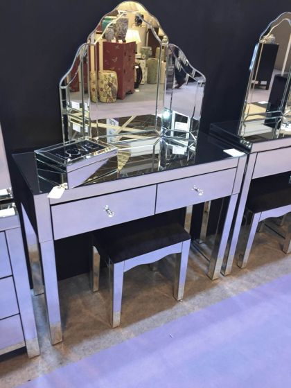 Petite Clear Mirrored Dressing Table Set