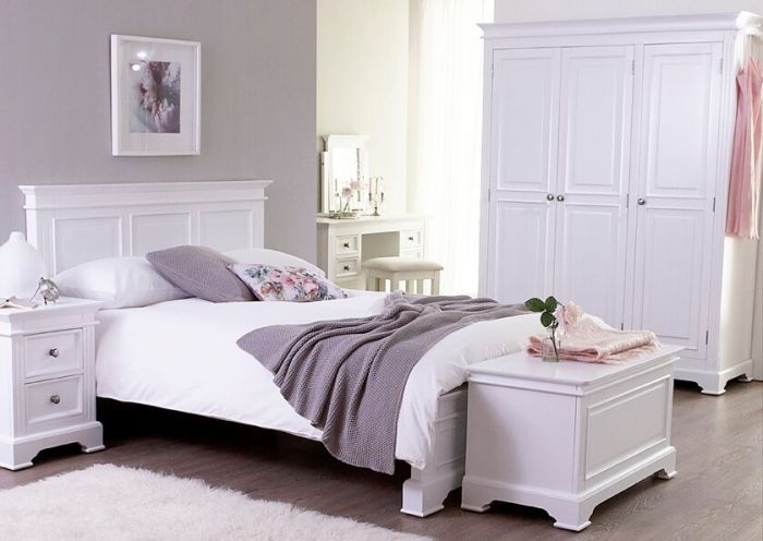 Pine White Painted Wide 7 Drawer Chest/Sideboard