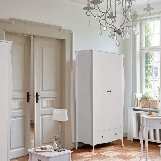 Provence Inspired White Wardrobe 2 Doors 1 Drawers