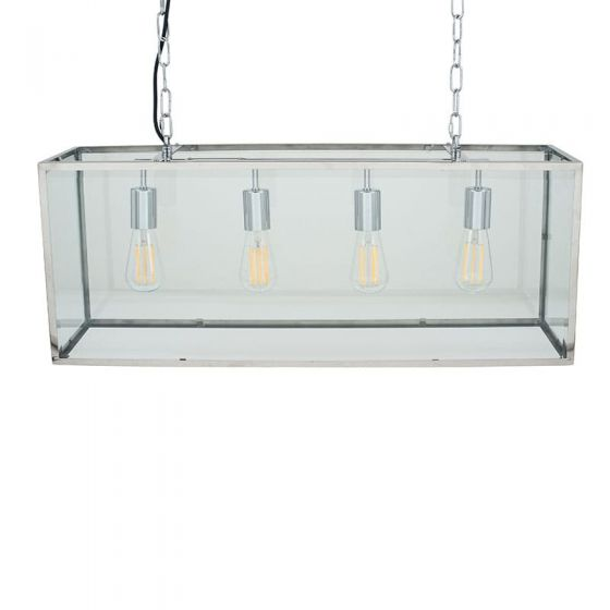 Rectangular 4 Bulb Glass Case Pendant