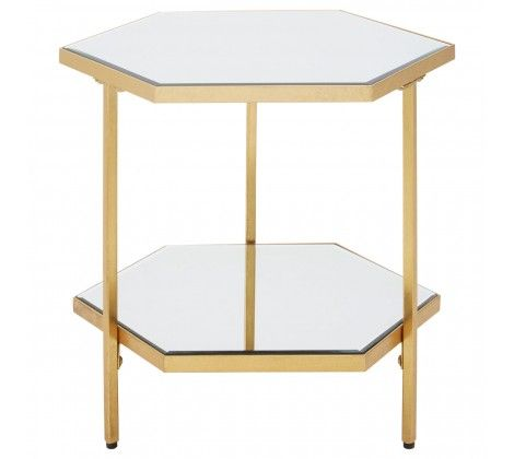 Rio Gold 2 Tier Mirror Glass Side Table