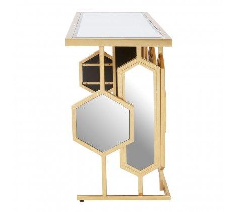 Rio Gold  Mirror Glass Console Table