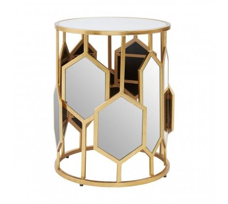 Rio Gold  Mirror Glass Side Table