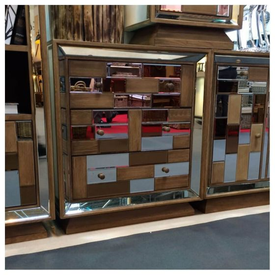 Rivelin Wood and Mirrored 3 Drawer Sideboard Chest