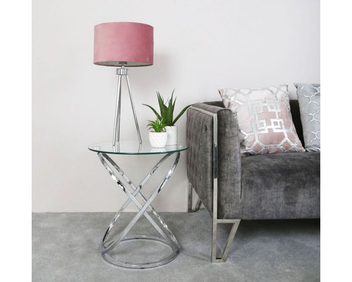 Riz Glass and Chrome Side Table