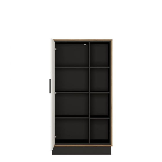 Rolo 1 Door Bookcase in White and Dark Wood