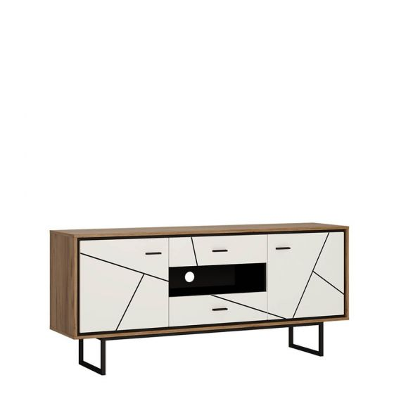 Rolo 2 Door TV Unit in White and Dark Wood