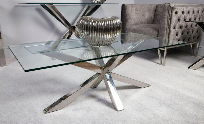 Rosa Glass & Chrome Coffee Table