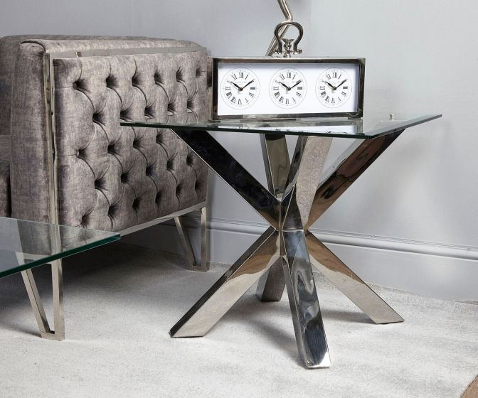Rosa Glass & Chrome Side Table