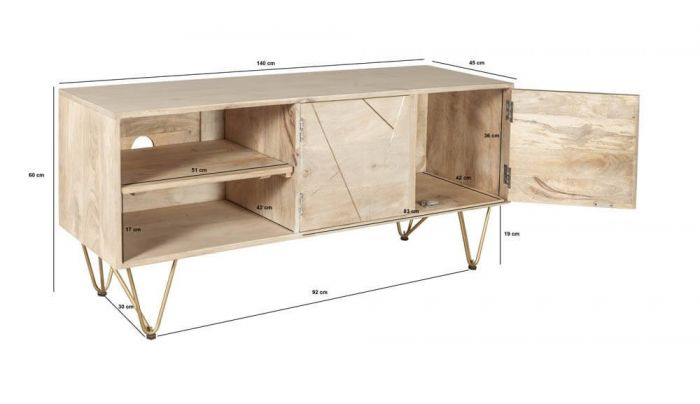 Sai Light Gold TV Unit With Gold Inlay