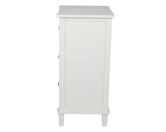 Sara Ivory Mirrored Pine 3 Drawer Bedside