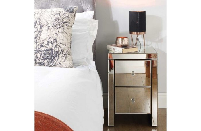 Savannah Mirrored 2 Drawer Bedside Cabinet