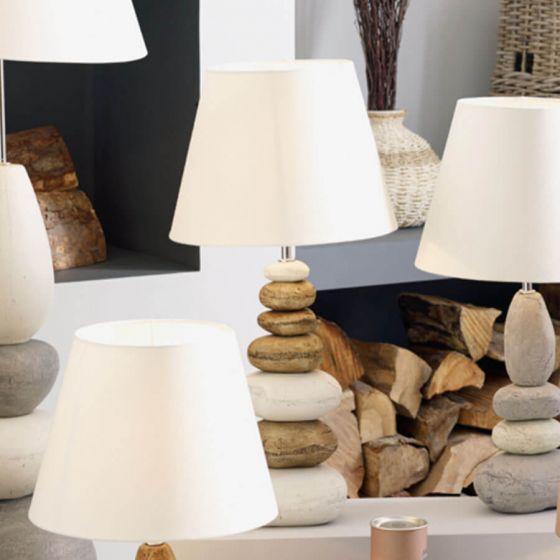 Seascape Large Natural Ceramic Pebble Table Lamp