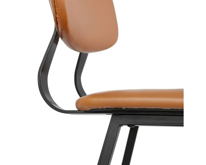 Selma Tan Brown and Black Bar Chair With High Back