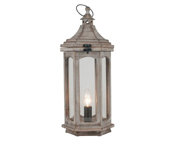 Shabby Chic Grey Antique Wood Lantern Table Lamp