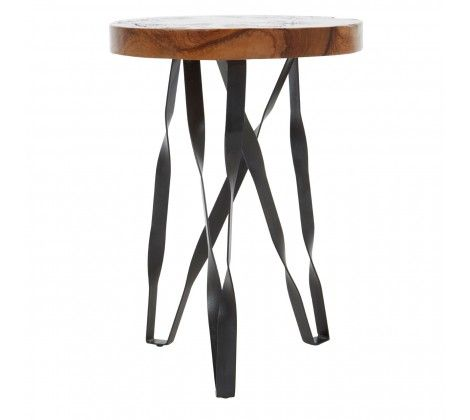 Shakir Round Iron Stool/Side Table