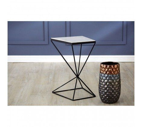 Shazaar Trapezoid Marble Side Table