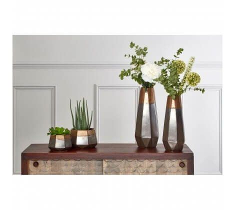 Silver Metal and Copper Modern Vase