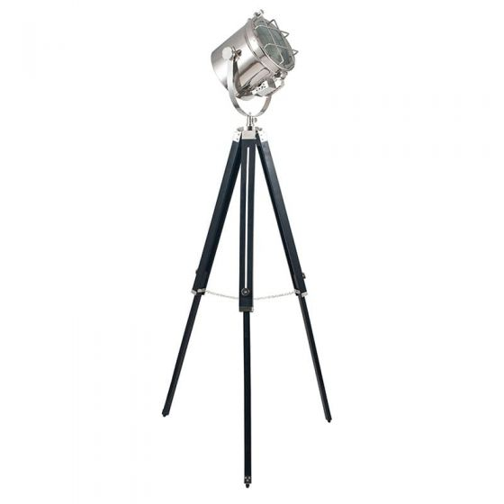 Silver Metal Tripod  with Black Wooden Base
