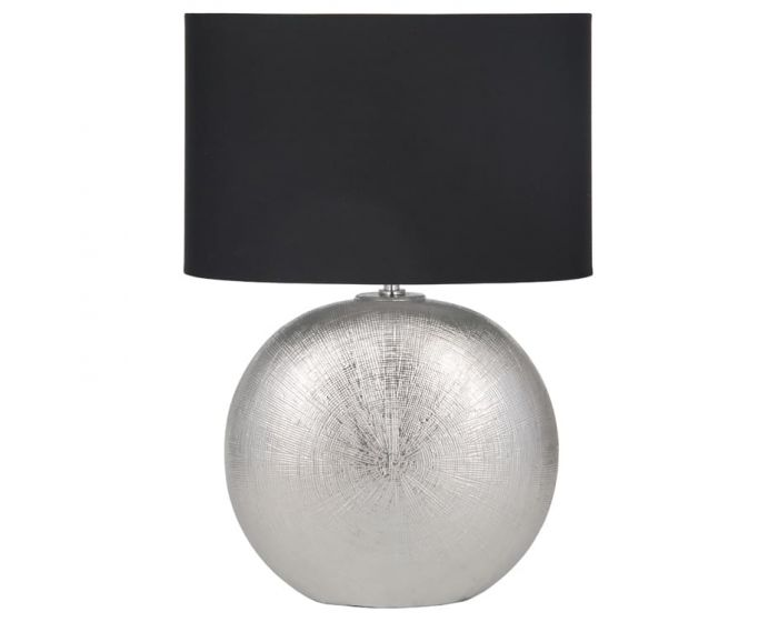 Silver Round Ceramic Table Lamp with Black Shade