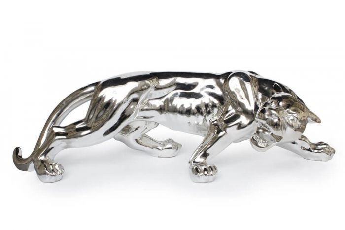 Jaguar Sculpture In Gunmetal, White or Silver