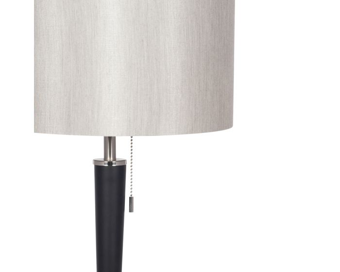 Sleek Brushed Silver and Matt Black Metal Table Lamp - Silver Shade