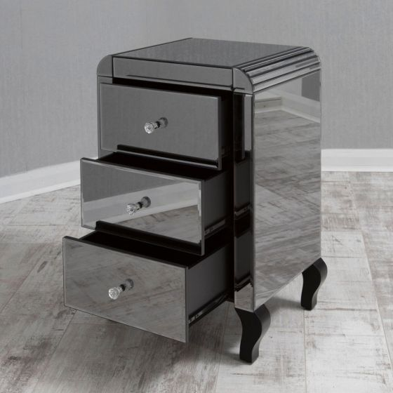 Smoked Mirrored Bedside with Bevelled Curved Edges