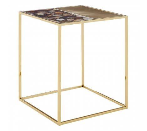 Square Agate and Gold Side Table