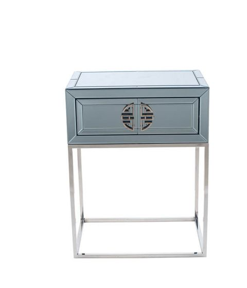 Stefano Smokey Mirrored 1 Drawer Side Table
