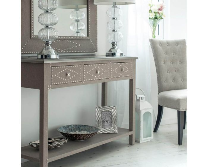 Stone Linen 3 Drawer Console Table