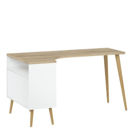 Stockholm 2 Drawer Desk in White with black or oak