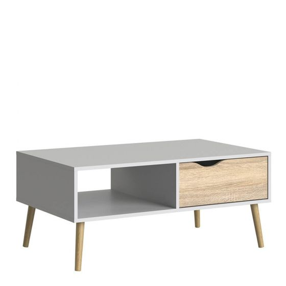 Stockholm Coffee Table in White with Black or Oak