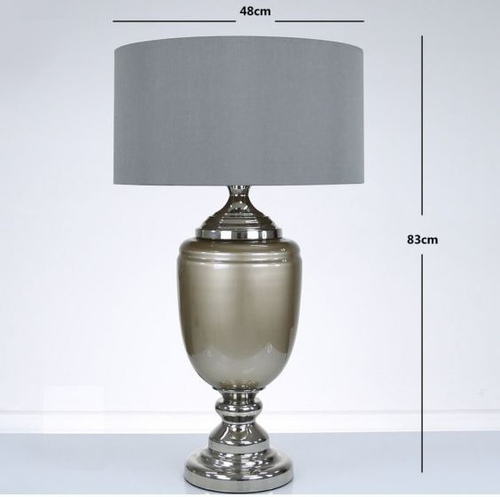 Taupe Pearl Glass Table Lamp with Grey Shade