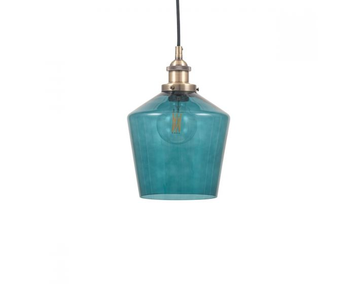 Teal Glass and Antique Brass Metal Detail Pendant