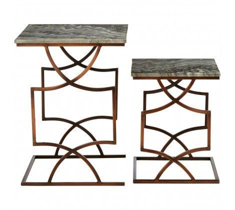 Templar Black Iron Set of 2 Square Side Tables