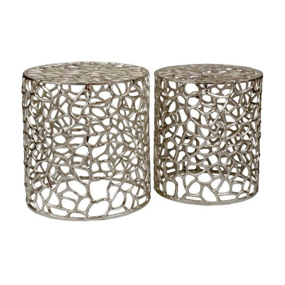 Temple Set of 2 Aluminium Side Tables/Stools