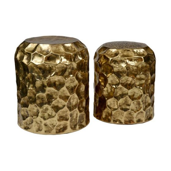 Temple Set of 2 Antique Brass Side Tables/Stools