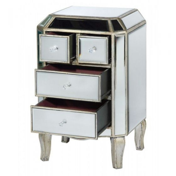 Torino Mirrored Distressed 4 Drawer Bedside Cabinet