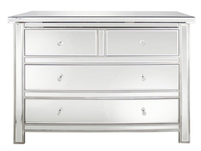 Traditional Mirrored 4 Drawer Chest of Drawers