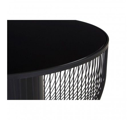 Trent Coffee Table With Black Glass Top