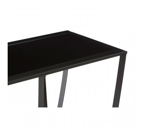 Trent Console Table With Black Glass Top