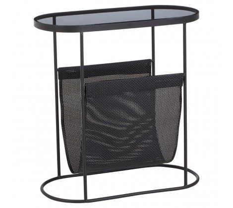 Trent Side Table With Grey Glass Top