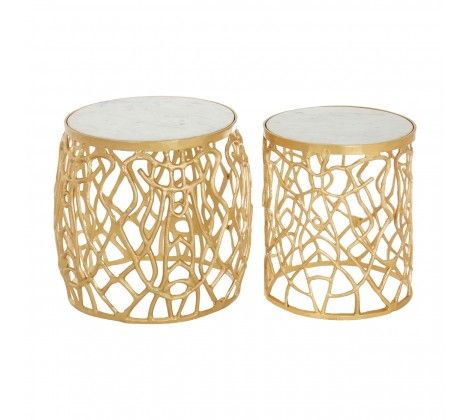 Trinity Gold Aluminium and  Marble Side Tables