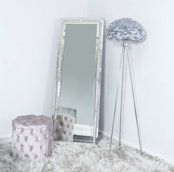 Tripod Floor Lamp with Grey Feather Shade